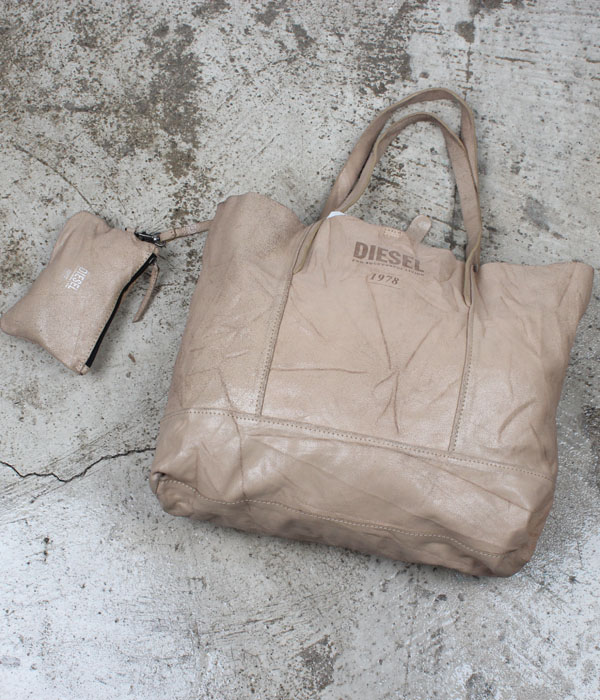 DIESEL crack leather tote bag