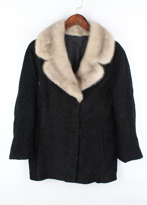 sheep skin leather+ mink jacket