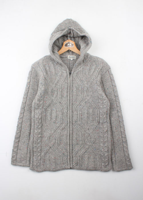 alessandra macchi wool knit zip-up hoodie