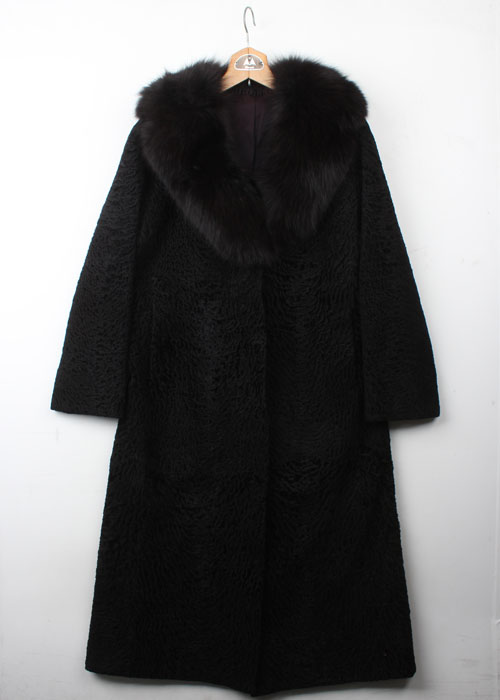 felt wool & fux fur coat