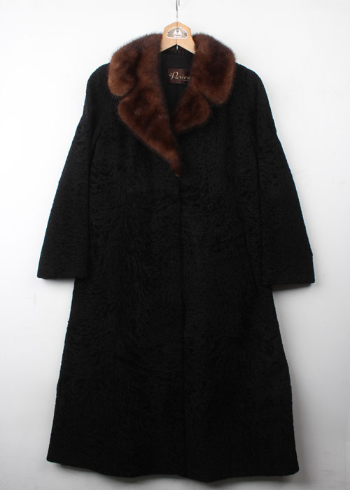 Parion wool felt&mink trim coat