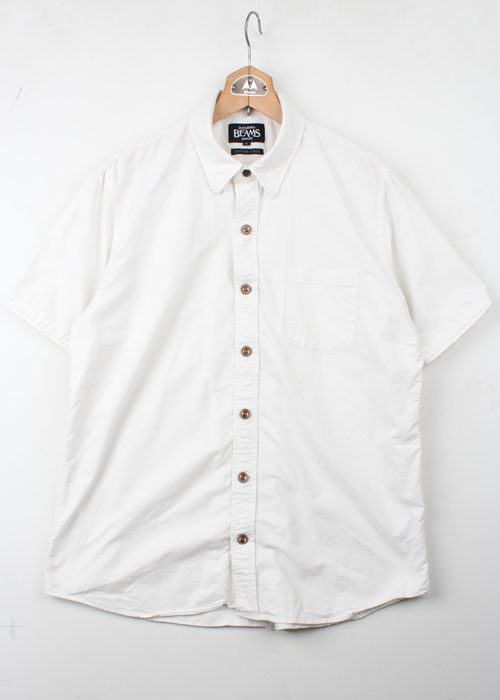 BEAMS leather trim shirts