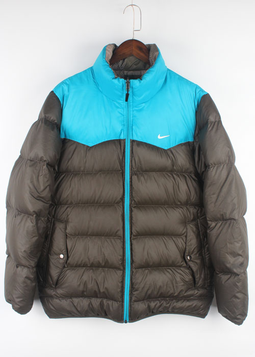 "NIKE ""the athletic dept"" reversible grey duck down jacket"