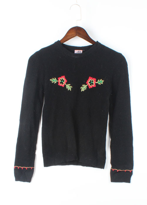 Reminiscence embroid wool knit
