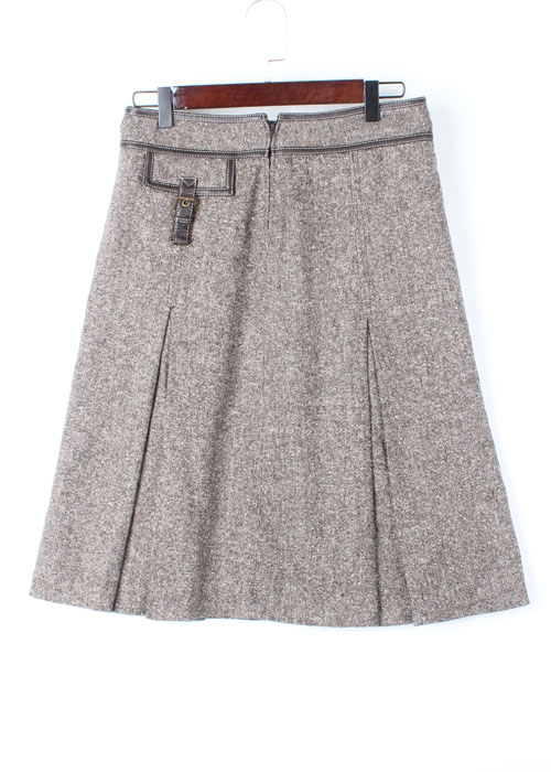 MICHAEL KORS leather trim tweed wool skirt