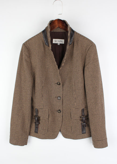 SCAPA leather trim wool jacket