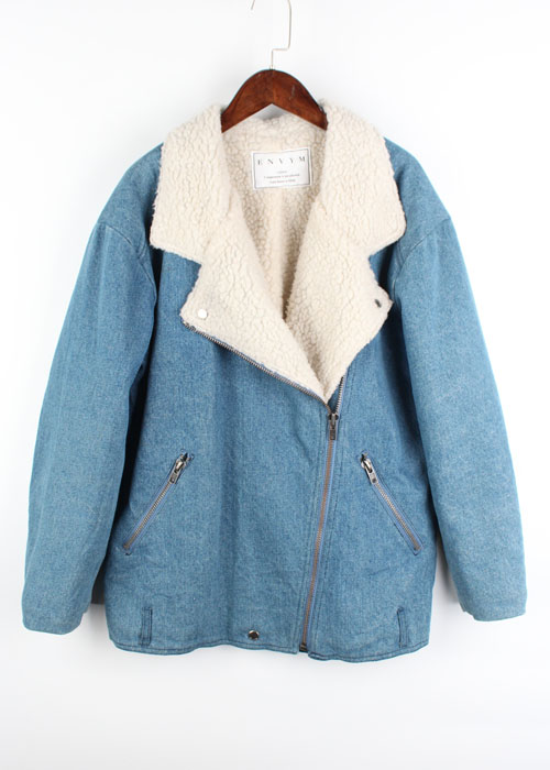 ENVYM denim+fur rider jacket