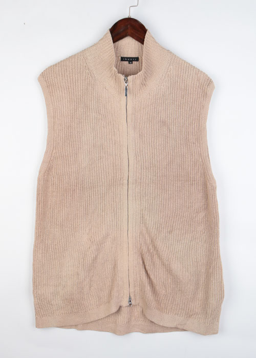 theory cotton knit zip-up vest
