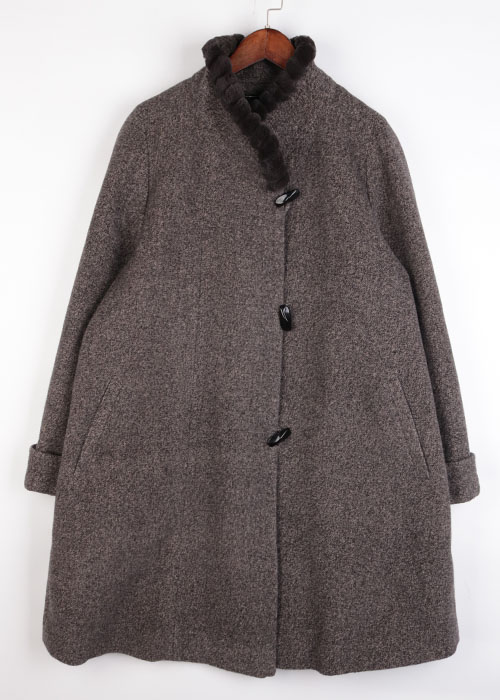 Emcharict mink trim angora coat